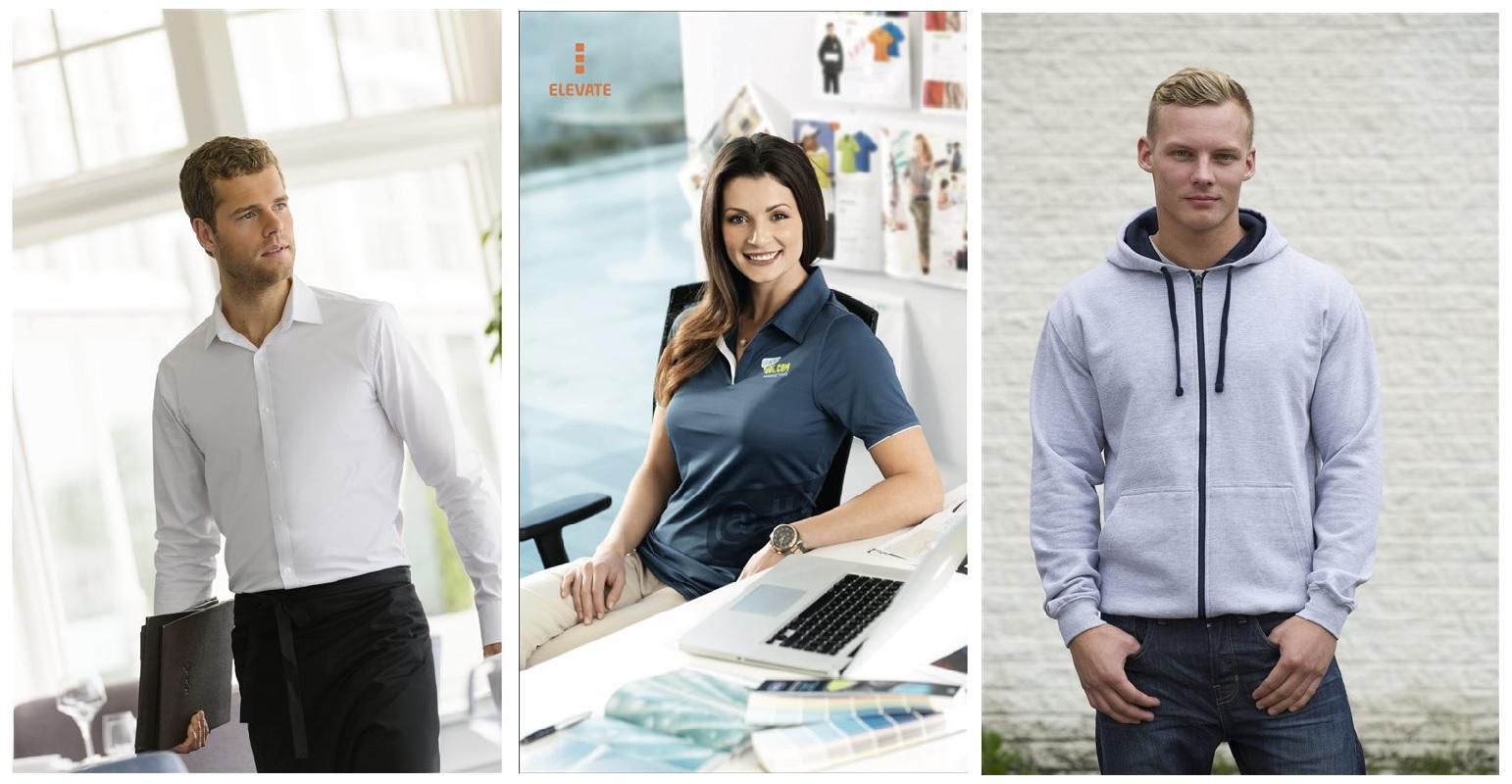 Sélection de vêtements publicitaires (chemise, polo, sweat)